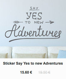 Sticker say yes to adventures, Gali Art
