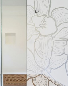 Sticker paroi de douche motif orchidée